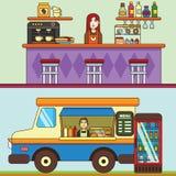 食物卡车、咖啡馆汽车在街道上,面包店和咖啡店 咖啡馆主持空的内部编号表 免版税库存照片