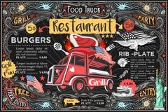食物卡车传染媒介菜单和商标 库存例证