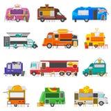 食物卡车传染媒介街道食物卡车车和快餐交付运输与热狗或多福饼餐馆或 向量例证