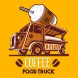食物卡车咖啡咖啡馆早餐送货业务传染媒介商标 库存图片