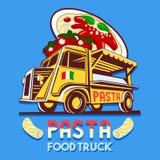 食物卡车意大利面团快速的送货业务传染媒介商标 图库摄影