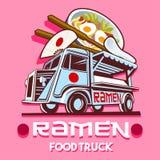 食物卡车拉面餐馆快速的送货业务传染媒介商标 皇族释放例证