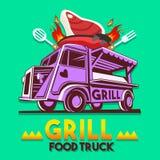食物卡车格栅BBQ快速的送货业务传染媒介商标 库存图片