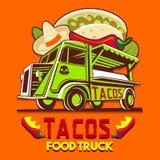 食物卡车炸玉米饼墨西哥快速的送货业务传染媒介商标 免版税库存图片