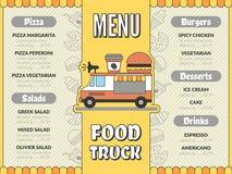 食物卡车菜单 汽车流动搬运车墨西哥炸玉米饼冰淇凌快餐的室外厨房喝薄饼飞行物传染媒介模板 库存例证
