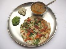 食物印第安sambhar uttappam 免版税库存图片