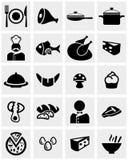 食物和餐馆传染媒介象在灰色设置了 免版税库存图片