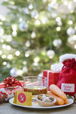 食物和饮料圣诞老人和驯鹿的 库存图片