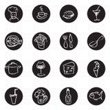 食物和饮料被设置的乱画象 免版税图库摄影