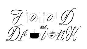 食物和饮料-装饰黑tekst 向量例证