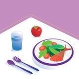 食物和饮食膳食等量营养健康吃和技术概念 向量例证