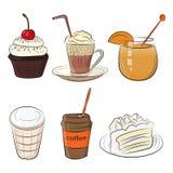 食物咖啡馆集合早晨早餐午餐或晚餐厨房乱画手拉的剪影概略的简单的象 库存照片