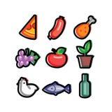 食物图标传统化了 免版税库存图片