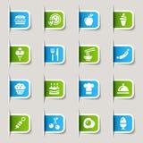 食物图标标签 免版税库存照片