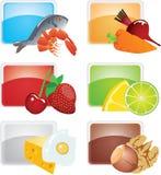食物图标被设置的向量 库存照片