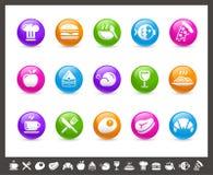食物图标-设置1 2个//彩虹系列 库存照片