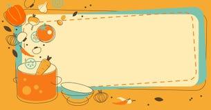 食物在乱画减速火箭的样式的厨房背景 向量例证