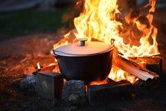 食物在火的,健康野营森林里 免版税库存照片
