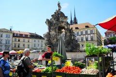 食物市场。捷克 图库摄影