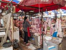 食物市场在成都,中国 免版税库存图片