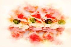 食物快餐和开胃菜用三明治和软软地被弄脏的水彩背景 库存照片