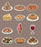 食物意大利贴纸 库存图片