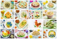 食物拼贴画复活节沙拉、快餐和开胃菜 库存图片