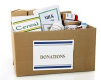 食物捐赠配件箱 免版税库存图片