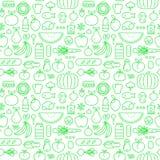 食物无缝的样式线象设计背景 向量例证