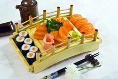 食物日本菜单三文鱼 免版税库存照片