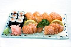 食物日本菜单混杂的牌照生鱼片 库存图片