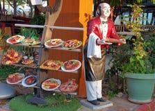 食物显示在餐馆 库存图片