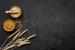 食物有慢碳水化合物的富有 燕麦粥和燕麦在碗在麦子附近小树枝在黑背景顶视图复制 图库摄影