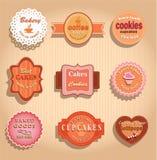 食物标签和徽章。 库存图片