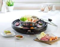 食物格栅日本人集合sukiyaki 图库摄影
