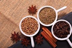 食物概念各种各样的香料小茴香籽、芫荽子、丁香、肉桂条和八角在黑板岩石头和sackclot 免版税库存照片