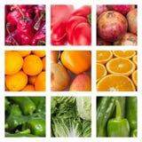 食物概念-各种各样的水果和蔬菜拼贴画  库存照片