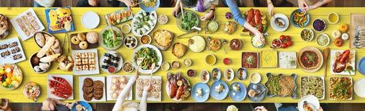 食物欢乐餐馆党团结概念 免版税库存照片