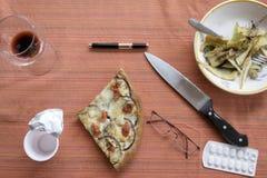 食物残羹剩饭在午休结束时 免版税库存图片