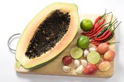 食物泰国番木瓜的沙拉 免版税库存图片
