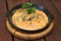 食物焦干酪土豆餐馆 库存照片