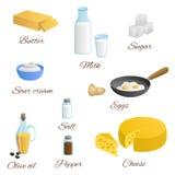 食物牛奶蛋黄油乳酪橄榄油酸性稀奶油盐胡椒糖集合例证 图库摄影