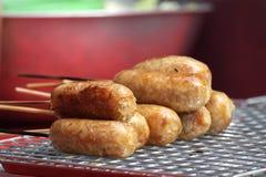 食物猪肉泰国米的香肠 免版税库存照片