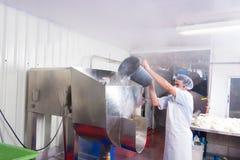 食物生产工厂工人 免版税库存图片