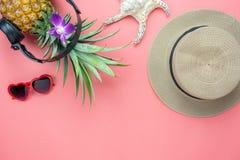 食物的台式视图空中图象暑假季节&音乐背景的 图库摄影