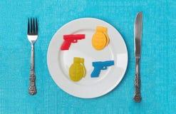 食物的战争 库存照片