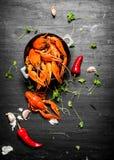 食物纤巧 煮沸的小龙虾用草本和辣胡椒 图库摄影