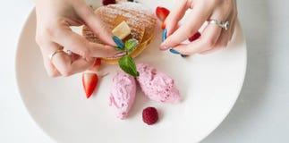 食物美发师创造性的艺术花梢点心 免版税库存图片