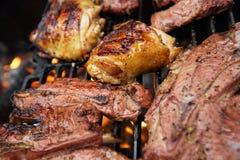 食物肉-鸡和牛肉在党夏天烤格栅 库存图片