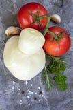 食物背景无盐干酪蕃茄大蒜和草本顶视图 图库摄影